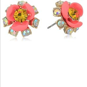 Betsey Johnson Pink Crystal Flower Earrings NWT